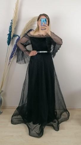 Organze Simli Kumaş Kemerli Uzun Elbise - Siyah