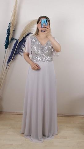 Üzeri Pullu Kolu Şifon Uzun Elbise - Pudra