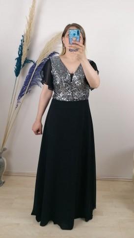 Gümüş Payetli Kolu Ve Etekleri Şifon Uzun Elbise -  Siyah