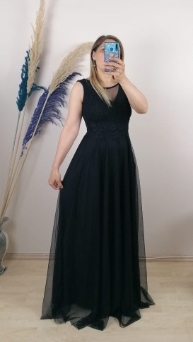 Beli Dantelli Tül Detay Uzun Elbise - Siyah