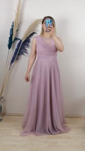 Beli Dantelli Tül Detay Uzun Elbise - Pembe
