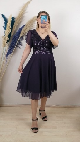 Tül Detay İşlemeli Şifon Elbise - Mor