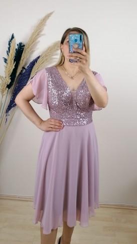 Tül Detay İşlemeli Şifon Elbise - Pembe