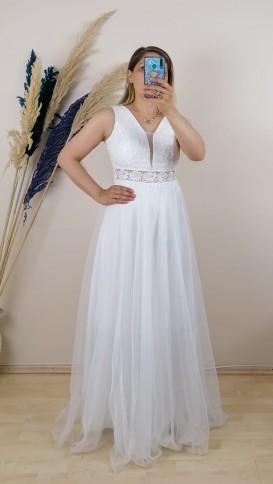 Beli Motifli Tül Detaylı Dantel Uzun Elbise - Beyaz