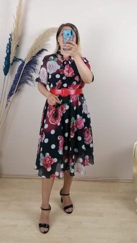 Gül Desenli Kemerli Şİfon Elbise - Karışık
