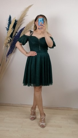 Yakası Fırfırlı Askılı Kısa Elbise - Yeşil