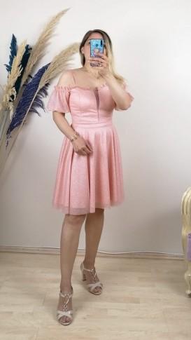 Yakası Fırfırlı Askılı Kısa Elbise - Pembe