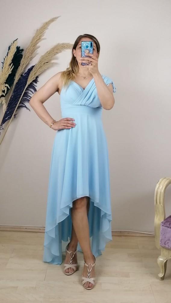 Tek Omuz Önü Kısa Şİfon Elbise- Bebek Mavi