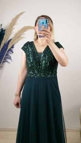 Üzeri Pul Payetli Tül Etek Uzun Elbise - Yeşil
