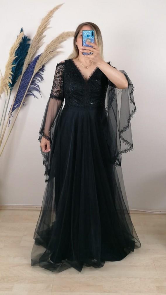 Volan kollu Üzeri Dantelli Tül Etek Elbise - Siyah