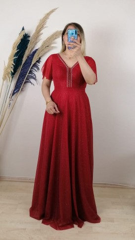 Yakası Taşlı  Simli Uzun Elbise - Kırmızı