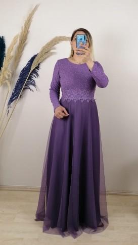 Beli Şeritli Uzun Kol Elbise - Lila