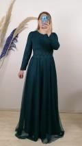 Beli Şeritli Uzun Kol Elbise - Yeşil