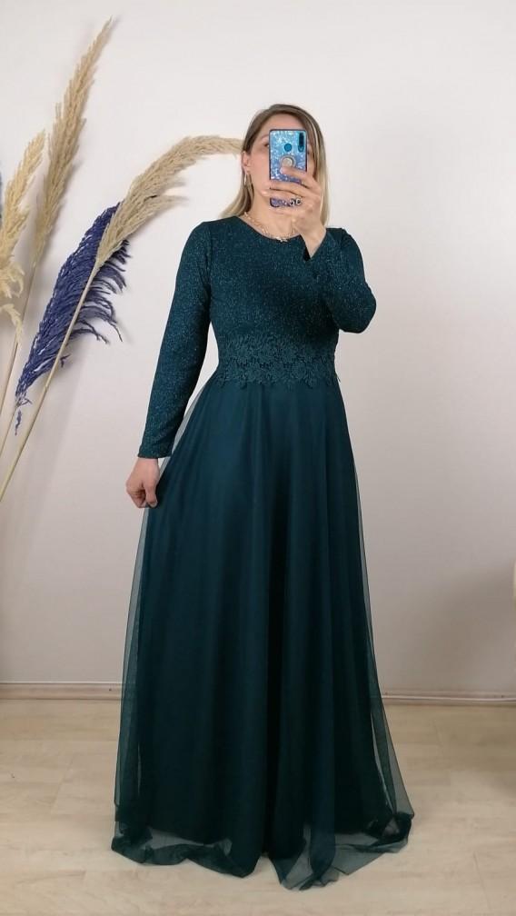 Beli Şeritli Uzun Kol Elbise - Siyah