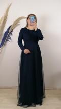Beli Şeritli Uzun Kol Elbise - Lacivert