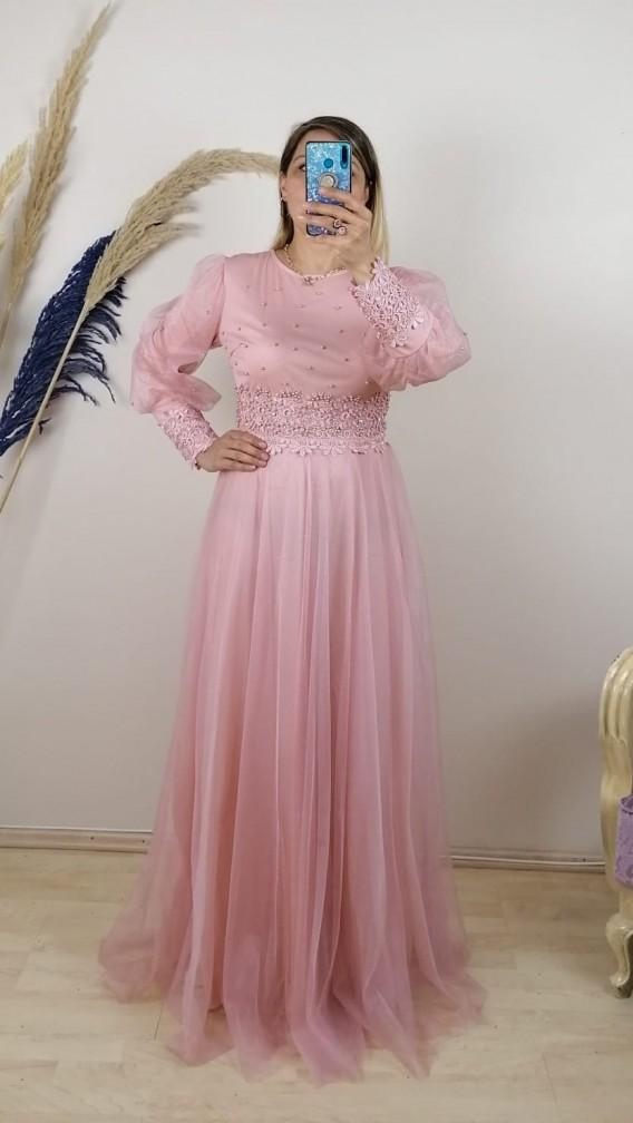 ÖnÜ Kolları Boncuk İşlemeli Tül Etek Elbise - Pembe