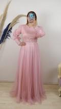 Önü Ve Kolları Boncuk İşlemeli Tül Etek Elbise - Pembe