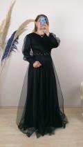 Önü Ve Kolları Boncuk İşlemeli Tül Etek Elbise - Siyah