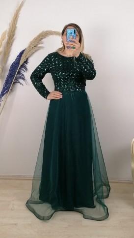 Üzeri Kare Pullu Tül Etek elbise - Yeşil