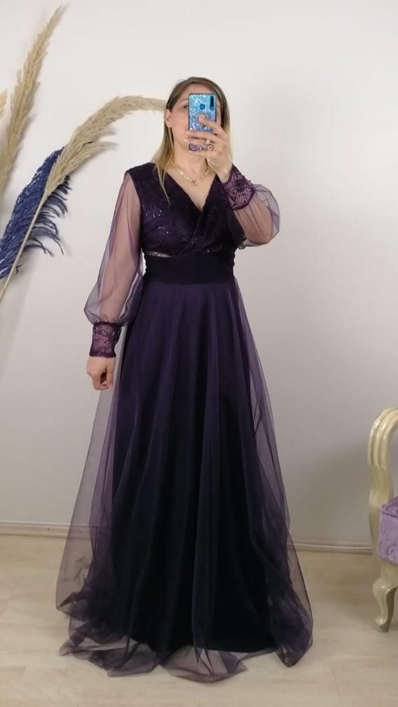 Beli Pliseli Kol Ucu Dantelli Uzun Elbise - Mor