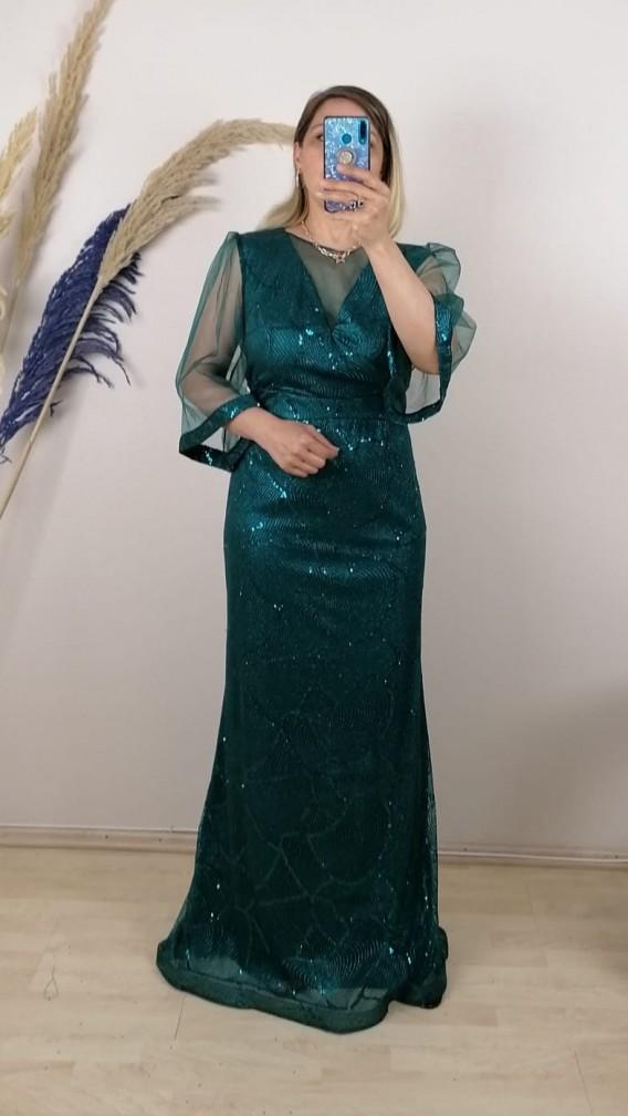 Tül Kollu Gliterli Uzun Elbise - Yeşil