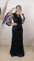 Tül Kollu Gliterli Uzun Elbise - Siyah