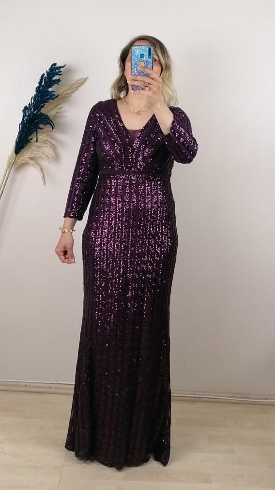 Uzun Kol Pul Payetli Şifon Elbise - Mor