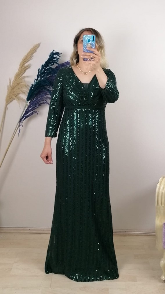 Uzun Kol Pul Payetli Şifon Elbise - Yeşil