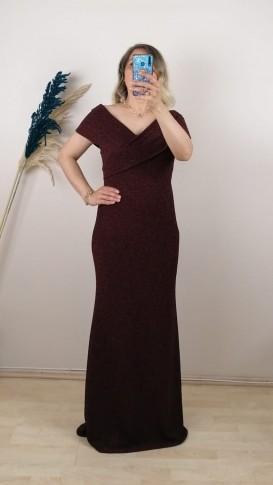 Simli Novel Madonna Yaka Elbise - Bordo