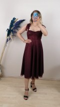 Beli Biyeli Askılı Elbise - Bordo