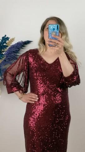 Kol Detaylı Kısa Elbise - Bordo