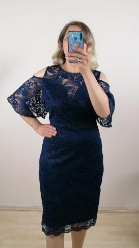 Dantel Kol Detaylı Elbise- Lacivert