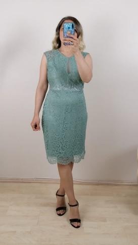 Beli su taşlı Dantel Elbise - Su Yeşili