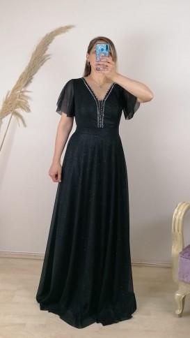 Yakası Taşlı  Simli Uzun Elbise - Siyah