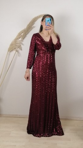 Uzun Kol Pul Payetli Uzun  Elbise - Bordo