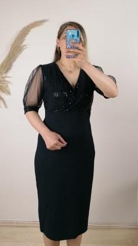 Kruvaze Yaka Tül Kollu Elbise - Siyah