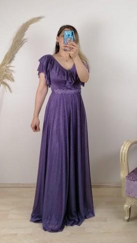 Beli Şeritli Simli Tül Elbise - Lila