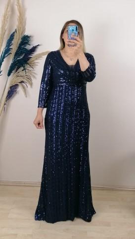 Uzun Kol Pul Payetli Uzun  Elbise - Lacivert