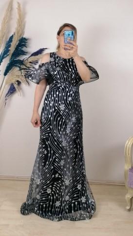 Omzu Açık Volan Uzun Elbise - Siyah
