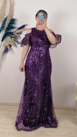 Omzu Açık Volan Uzun Elbise - Mor
