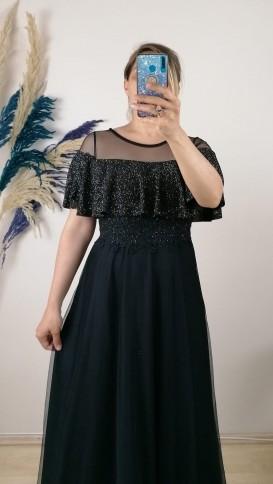 Göğsü Volanlı Tül Etek Elbise - Siyah