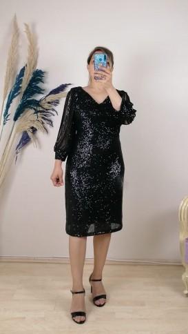 Kol Detaylı Kısa Elbise - Siyah