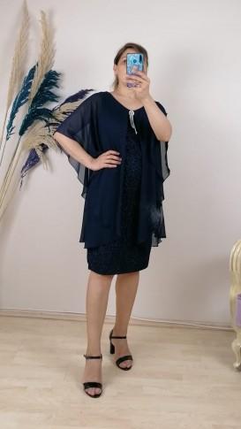 Üzeri Şifon Broşlu Simli Elbise - Lacivert