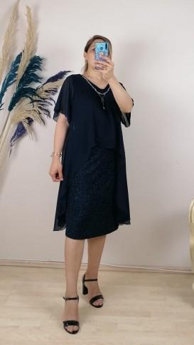 Üzeri Şifon Battal Beden Kolye Detaylı Elbise- Lacivert