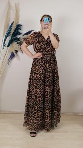 Leopar Desenli Şifon Elbise - Kahverengi
