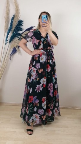 Çiçekli Kruvaze Yaka Şifon Elbise