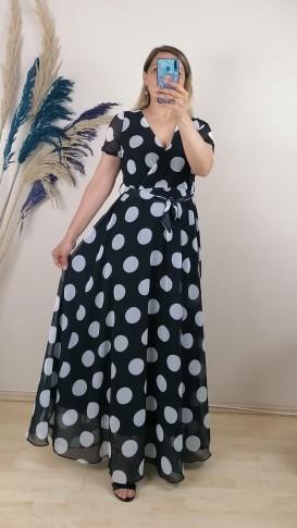 Puantiyeli  Kruvaze Yaka Şifon Elbise - Siyah beyaz