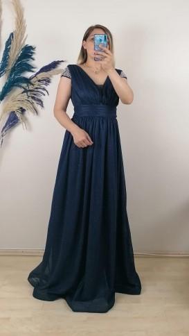 Omuzları Taşlı Büzgülü uzun Elbise - Lacivert