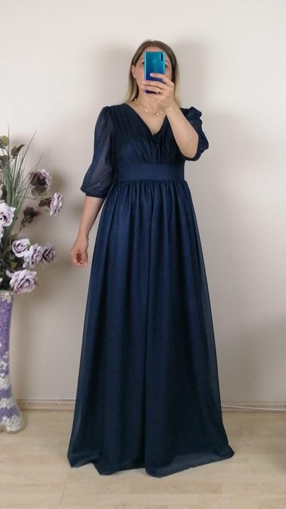 Büzgülü Simli Uzun Elbise - Lacivert