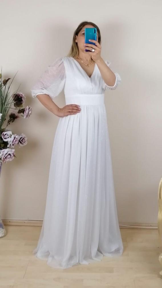 Büzgülü Simli Uzun Elbise - Beyaz